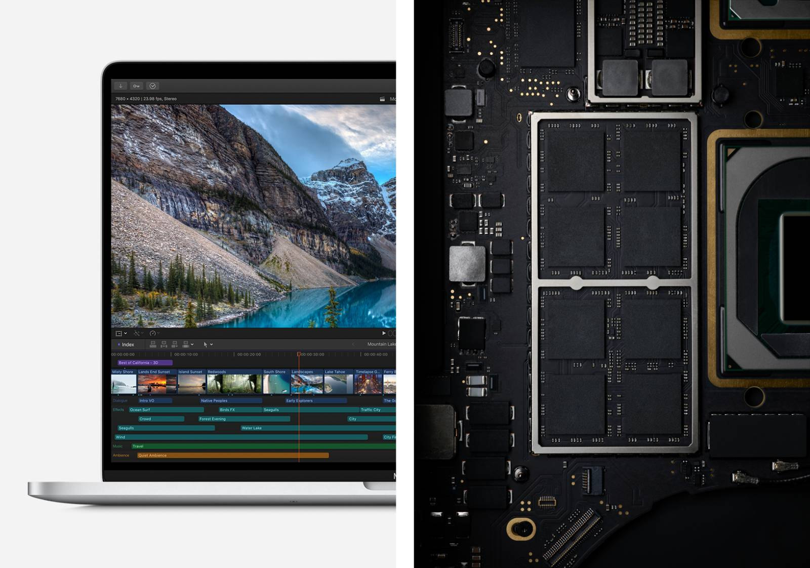 apple macbook pro half and half screen and interior layout